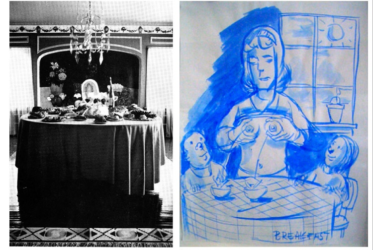 Dining Room, Womanhouse (1972) left; Nicole Eisenman, Breakfast, ink on paper, 1998