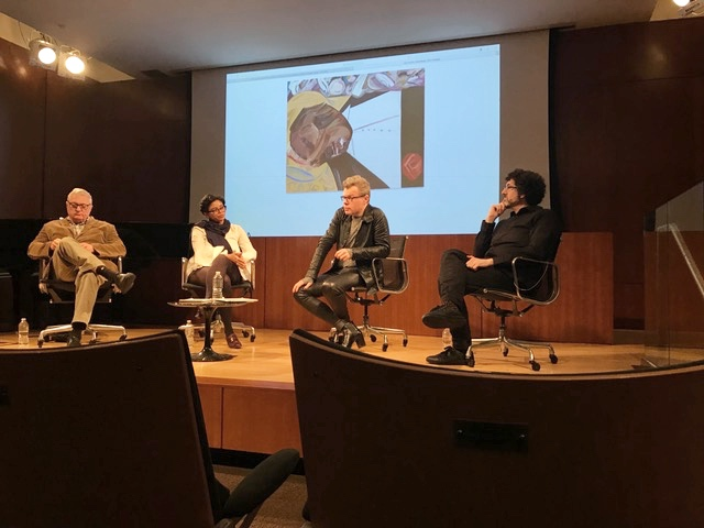 Left to Right: Walter Robinson, Jessica Belle Brown, David Cohen, Hrag Vartanian, discussing The Whitney Biennial
