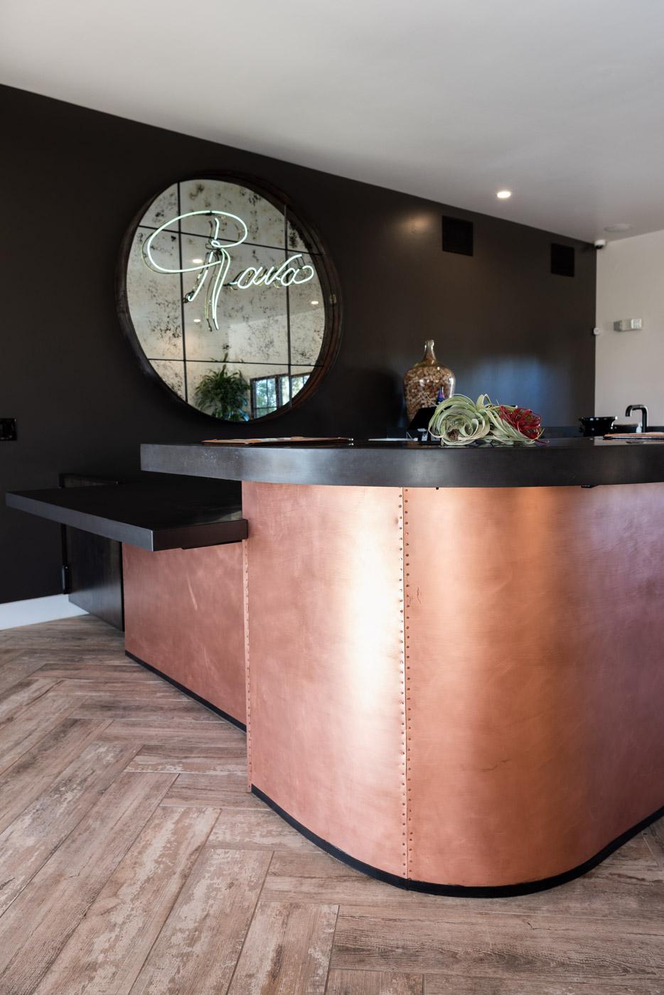 Industrial Wine Tasting Room home bar custom cabinets