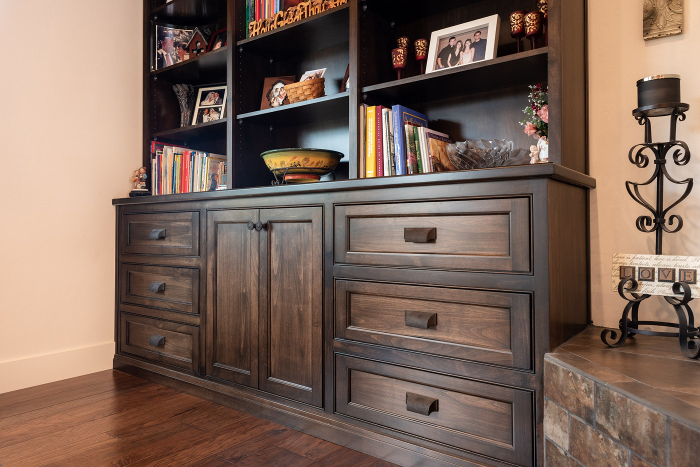 Tuscan Artisan custom stained Alder wood living room built-in bookcase cabinet