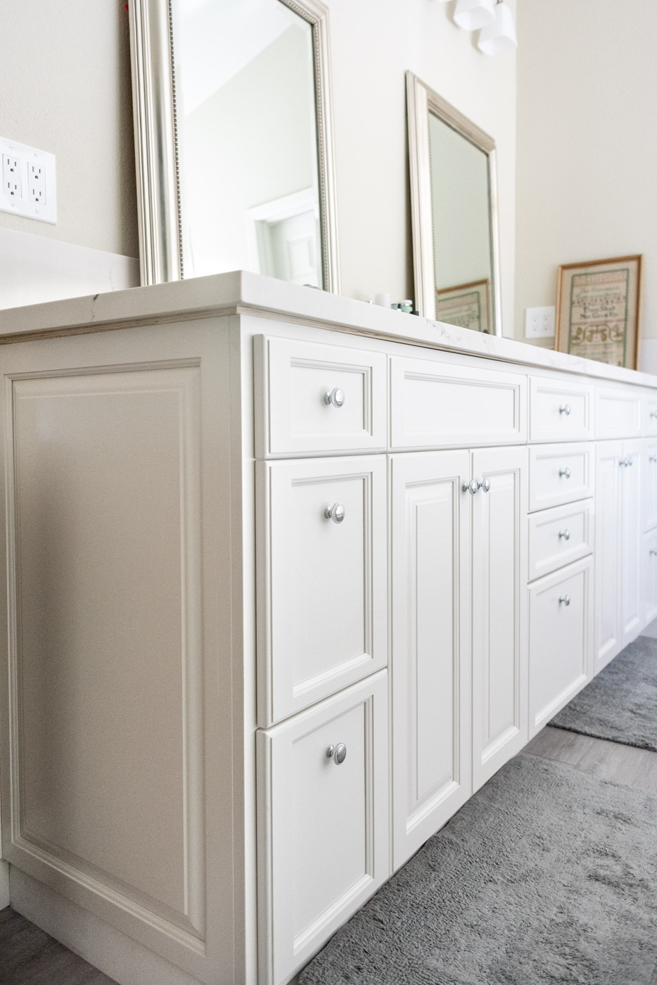 Modern Farmhouse Cottage bathroom vanity with custom white painted cabinets