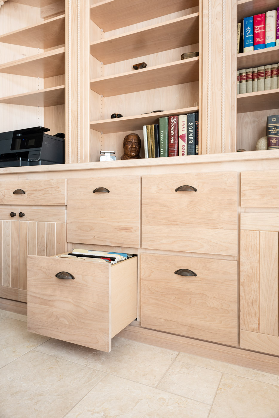 Simple Southwestern custom home office cabinets and bookcase in white washed wood stain