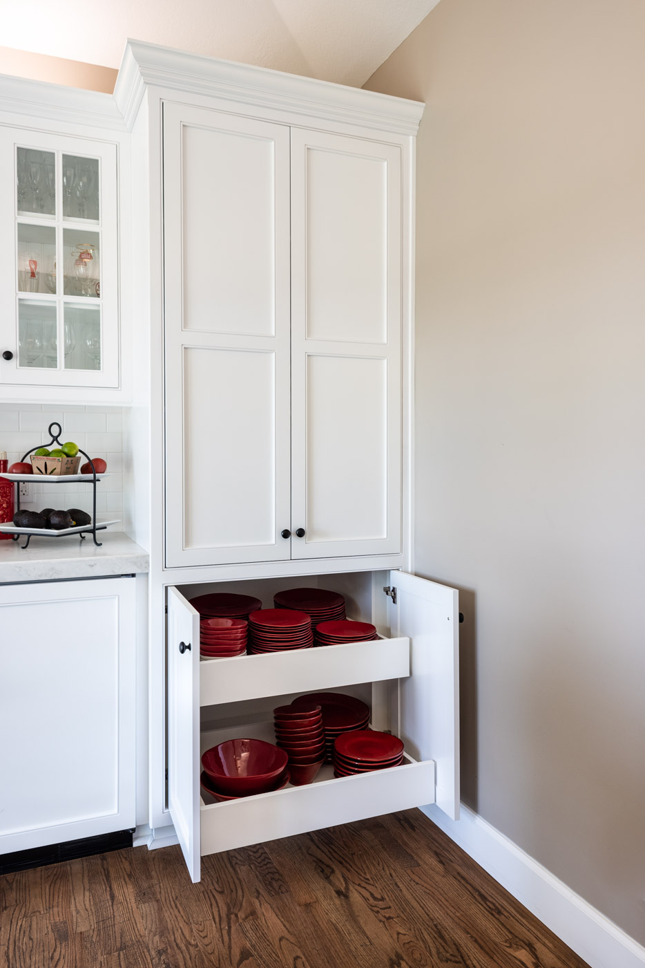 Transitional Country Cottage style kitchen with custom roll out cabinet storage