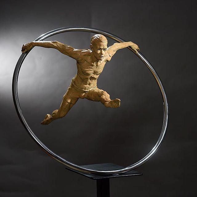 "Philippe | Cirque Performer 55"" H (with Stand) x 25"" W x 25""  I love the Cirque performers and I thought I could create a sculpture that captures the movement of a Ring Performer, Philippe is large and makes a statement in the room. He's performing daily and I never get tired of viewing this piece.  #sculpture #danromerosculpture #nativeamerican #portraitscultpure #bronzesculpture #orginalart #sculpting #artist #bronzeartist #artgallery #lagunaart #nativeamericanart #ballerina #instaart #1001sculptures"