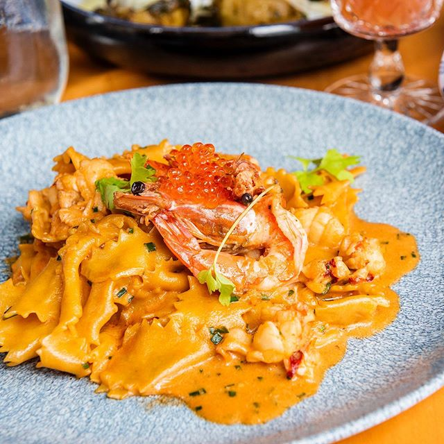 What pairs best with half price wine?! A delicious pasta special! 🤤 Our mafaldine satisfies your seafood craving with Nova Scotia lobster, pacific white shrimp, trout roe, and américaine sauce. . . . . #toronto #TO #torontorestaurants #TOfoodie #torontofoodies #foodtoronto #thesix #416 #torontoeats #TOeats #647 #TOfood #cravethe6ix #tastethesix #ieatTO  #yumtoronto #tastetoronto #feedmetoronto #italianTO #torontoeats #ago #blogTO #provofoodbar #italian #handmadepasta #pasta #gnudi #italianfood #TO_finest