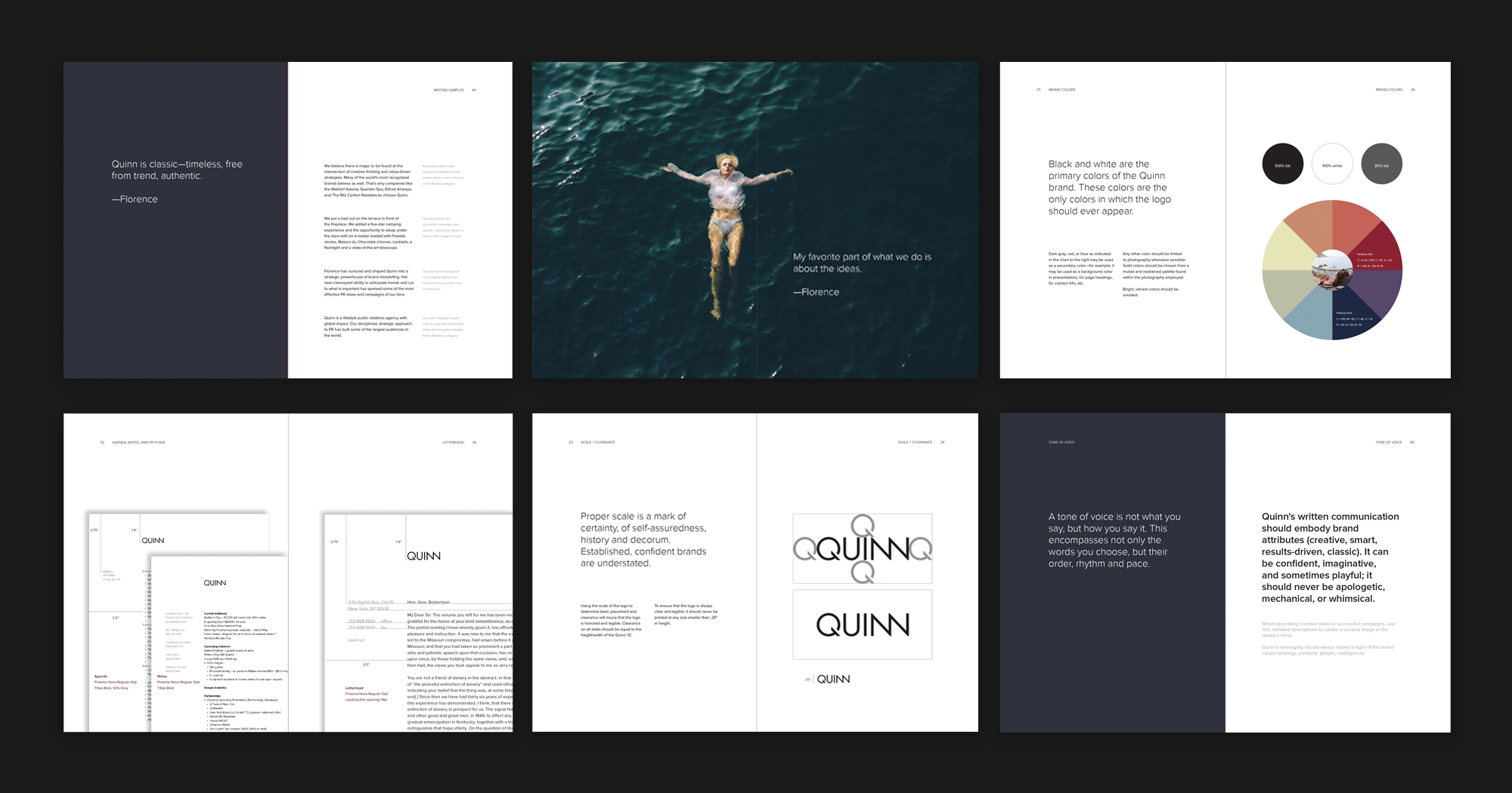 Quinn brand guide book with logo design, stationery, color palette, messaging