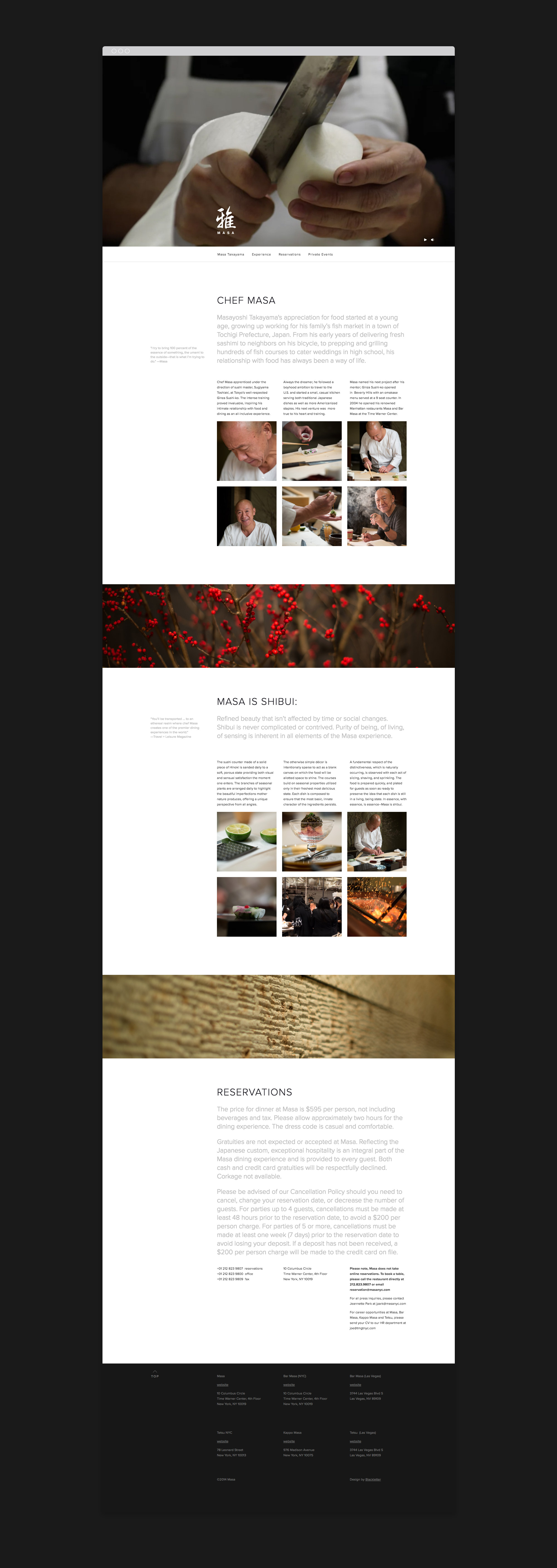 Masa NYC web design, content organization with photo gallery