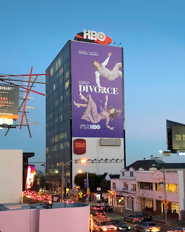 Here's a look at an outdoor execution of our campaign for Season 2 of DIVORCE on HBO. The HBO building on Sunset Strip. EPIC! . . . . . . . . . . @hbo @divorceonhbo @sarahjessicaparker #stockholmdesign #creativeagency #keyart #print #typography #posterart #movieposter #movieposter #filmposter #posterdesign #entertainmentadvertising #advertising #billboard #creative #inspiration #photoshoot #television #tv #film #entertainment #bts #behindthescenes