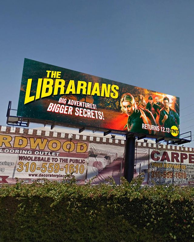 Fighting aliens, solving ancient mysteries, saving the world and competing with a carpet billboard. Nothing The Librarians can't handle. Here's a look at our outdoor campaign for The Librarians Season 4. . . . . . . . . . . @librarianstnt @tntdrama @rebeccaromijn @noahwyle @christiankane1 @reallylindybooth @johnharlankim #JohnLarroquette #stockholmdesign #creativeagency #keyart #print #typography #posterart #movieposter #movieposter #filmposter #posterdesign #entertainmentadvertising #advertising #billboard #creative #inspiration #photoshoot #television #tv #film #entertainment #tbt #behindthescenes #fantasy #adventure
