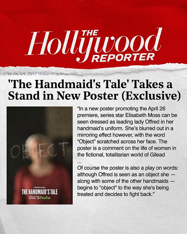 Nice write up from The Hollywood Reporter about our Key-art Campaign for Season 1 of Hulu's THE HANDMAID'S TALE. . . . . . . . . . . @handmaidsonhulu @hulu @elisabethmossofficial @yvonnestrahovski @whododatlikedat @reedmorano #thehandsmaidstale #stockholmdesign #creativeagency #keyart #print #typography #posterart #movieposter #movieposter #filmposter #posterdesign #entertainmentadvertising #advertising #billboard #creative #inspiration #photoshoot #television #tv #film #entertainment #tbt #behindthescenes #drama #hulu #emmy #goldenglobes