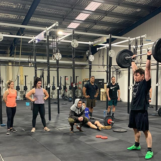 """We are behind our people!  @matlachancebertrand  made almost 6 min longer in our until fail workout .  Give it a try ... """"Khan you hold on""""  EMOM : 5 burpees + 5 thrusters  After Every 4min add 10/5kg  Start at 40/30 Aim is to make 10+ rounds  Matty made the 20th round! #ohcanada🇨🇦 Thanks @iamkhanporter for another great day of training"""