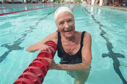 Aileen Riggin set a world record in the 50-meter freestyle for the 85-89 age group at the Oahu Club in 1991. Cred: Starbulletin.com