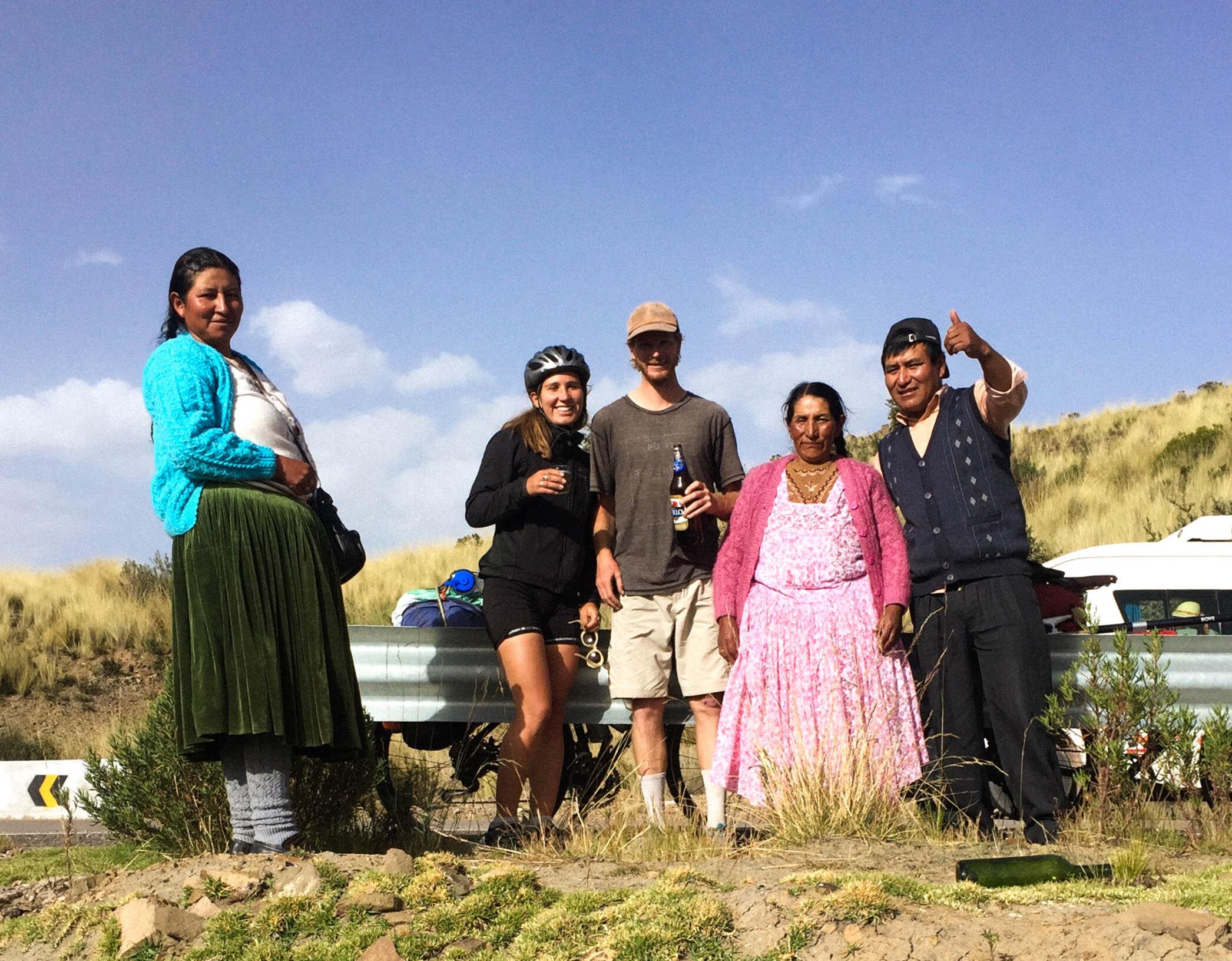 Ruby and her boyfriend Nick with friends in Peru, 2019