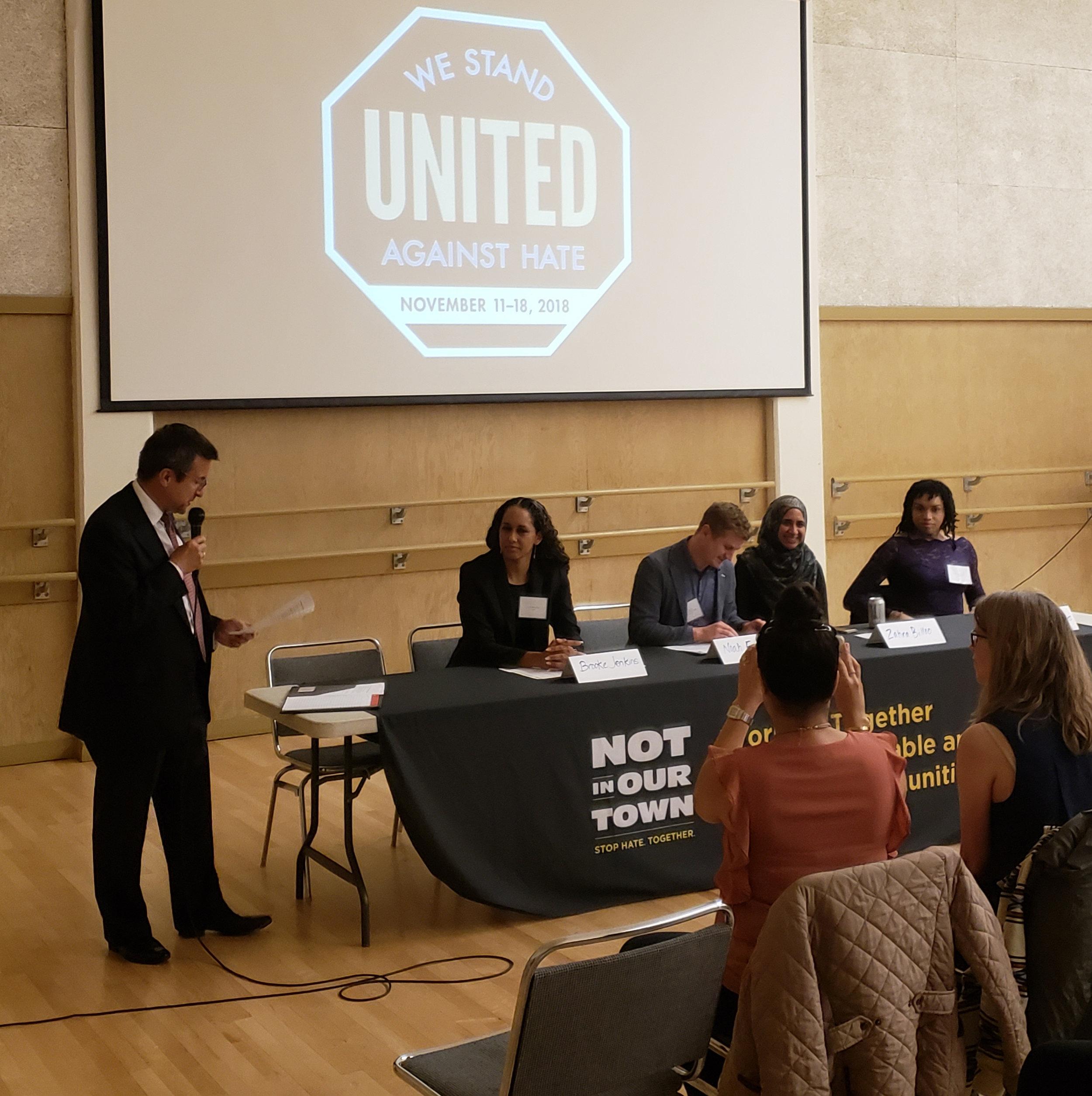 Moderator Michael Pappas with panelists Brooke Jenkins, Noah Frigault, Zahra Billoo and Nilani Waldon-Hoes.
