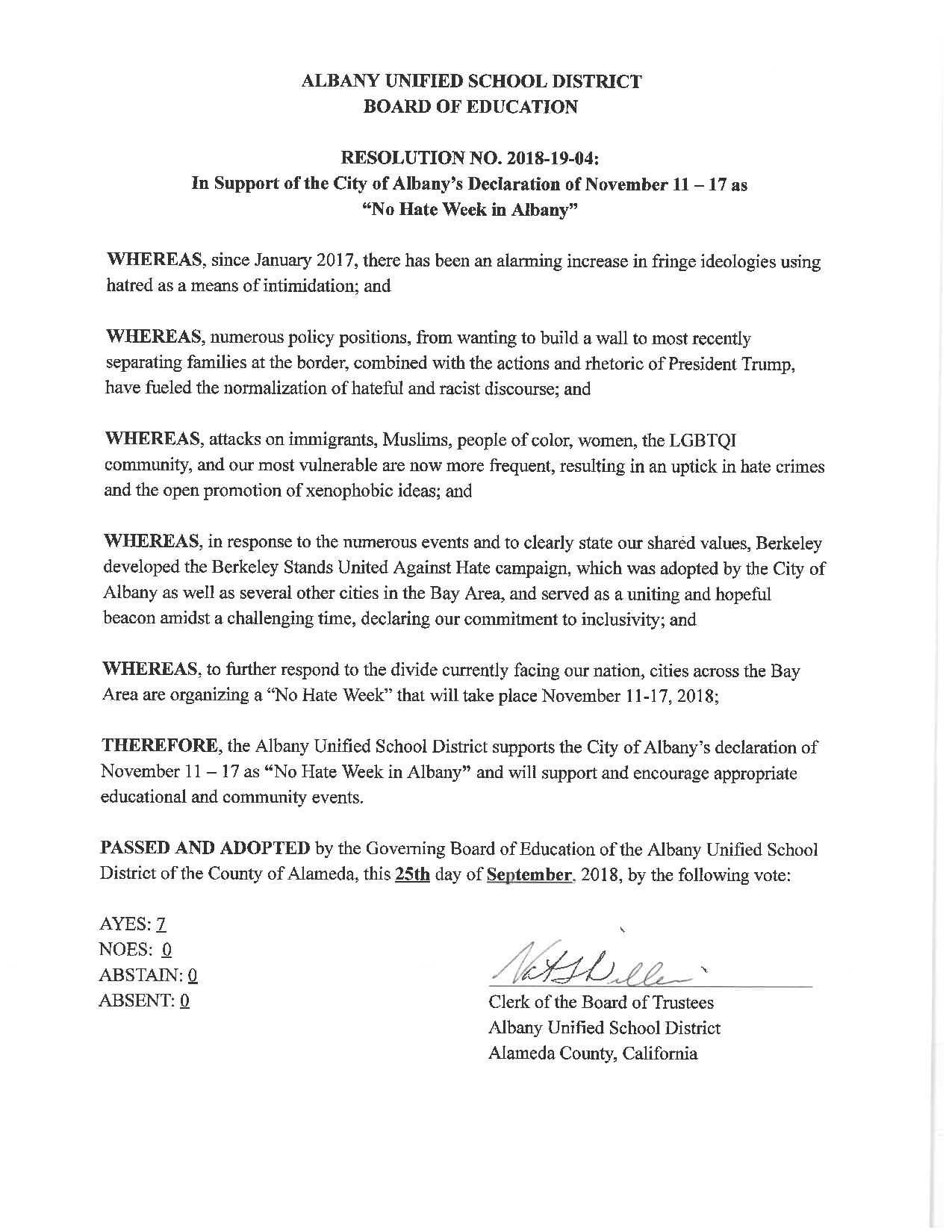 Albany Unified School District Board of Education Resolution