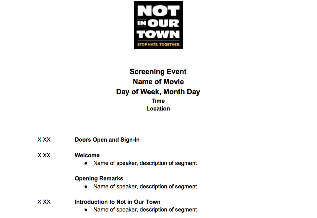 Generic Screening Event Outline - A sample and template show-run for screening events