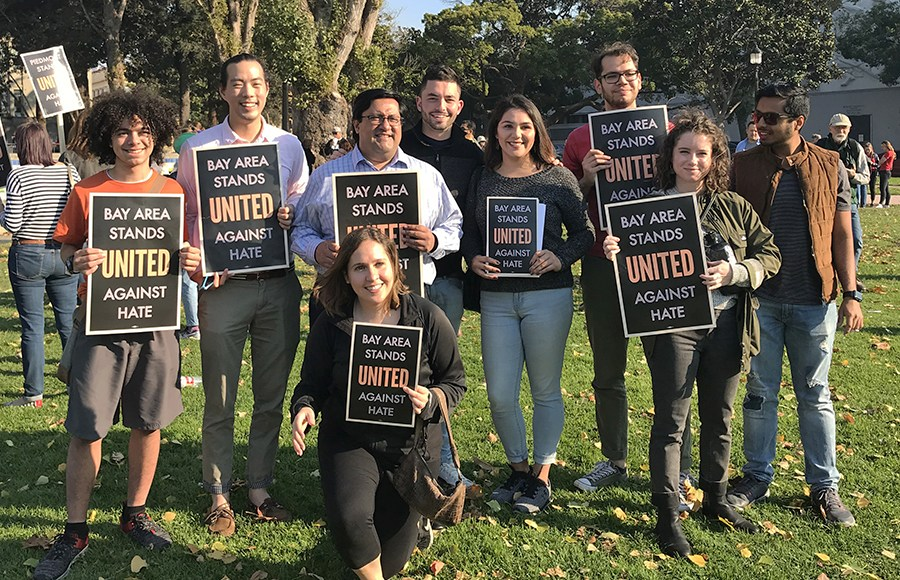 Berkeley Mayor Jesse Arreguin and other Bay Area residents who turned out for the United Against Hate Week Kick-off event held in Civic Center Park in Berkeley on Sunday. (Photo by Glo Robinson / NIOT)