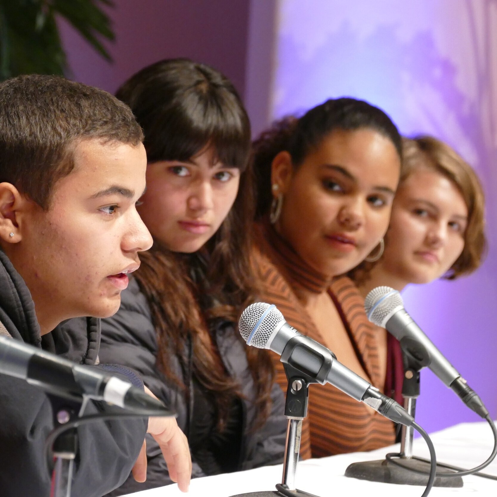 A panel of young people speak on the action steps they'd like to see from their peers at the NIOT Novato United Against Hate Event