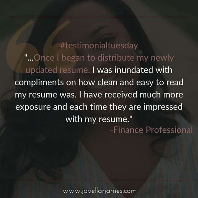 I love the transformation and results my clients receive with a revamped resume and job search strategy. This client was receiving almost no responses from recruiters and companies he was targeting prior to working with us. Just during our initial session where we delved deep into his career achievements, he had amazing realizations into his true potential and worth in the job market. Contact me for a free job search assessment and resume review. ⠀⠀⠀⠀⠀⠀⠀⠀⠀ .⠀⠀⠀⠀⠀⠀⠀⠀⠀ .⠀⠀⠀⠀⠀⠀⠀⠀⠀ .⠀⠀⠀⠀⠀⠀⠀⠀⠀ .⠀⠀⠀⠀⠀⠀⠀⠀⠀ .⠀⠀⠀⠀⠀⠀⠀⠀⠀ .⠀⠀⠀⠀⠀⠀⠀⠀⠀ .⠀⠀⠀⠀⠀⠀⠀⠀⠀ .⠀⠀⠀⠀⠀⠀⠀⠀⠀ #clienttestimonial #whatourclientssay #testimonial #cleresumes #clevelandbusinessowner #jobsearchconsultant #careercoach #resumewriter #executiveresumewriter #homeoffice  #onlinebusinessmanager #customerservice #clientsatisfaction  #onlinebusinessmanagers #javellarjamesbusinesssolutions #instagraphics #onlinebusinessspecialist #brandyourbrilliance #testimonialtuesday