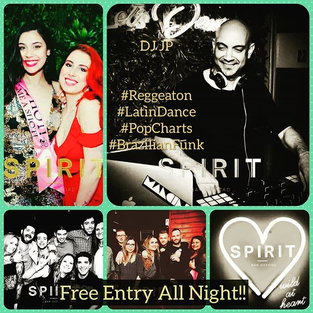 Join us this Saturday 18th for another fun filled evening full of amazing people, drinks, music and more. 😎🎶🍹🍾😍🍸 Let DJ JP take control as he spins some of the very best Latin dance, Reggeaton, Pop Charts, Brazilian Funk and more as you party the night away. 🎶🎧🎶😍 And why not take advantage of our happy hour! From 8pm to 11pm you can grab yourself 2-4-1 Cocktails Half priced bottles of white wine, rosé and prosecco 🍷😘🍾😋💙 But that's not all just ask one of our bartenders for more deals.  #SpiritBarOxford #Oxford #Saturdaynight #HappyHour #lovingtheweather☀️ #WeekEndVibes #DjJP #Reggaeton #Latindance #PopCharts #BrazilianFunk #LiveTheMoment