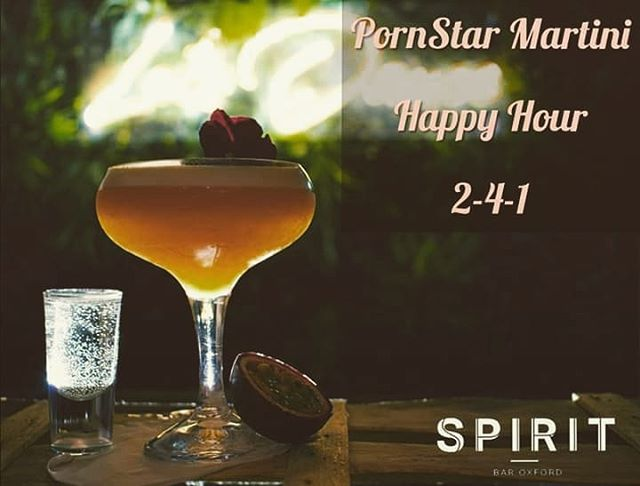 Heading out this weekend?  Why not try our favourite cocktail, the ❤❤❤ PORNSTAR MARTINI ❤❤❤ 1  ounce Passionfruit Puree 1 1/2  ounce Absolut Raspberry 1/2  ounce Passoa  2  ounce Pineapple Juice 1  Shot of Prosecco  2-4-1 Happy Hour  Fridays  9pm - 11pm Saturdays  8pm - 11pm  #SpiritBarOxford #Oxford #Cocktails #HappyHour #PornStarMartini #Prosecco #weekend #ILoveCocktails  Photo credit @Robert clench