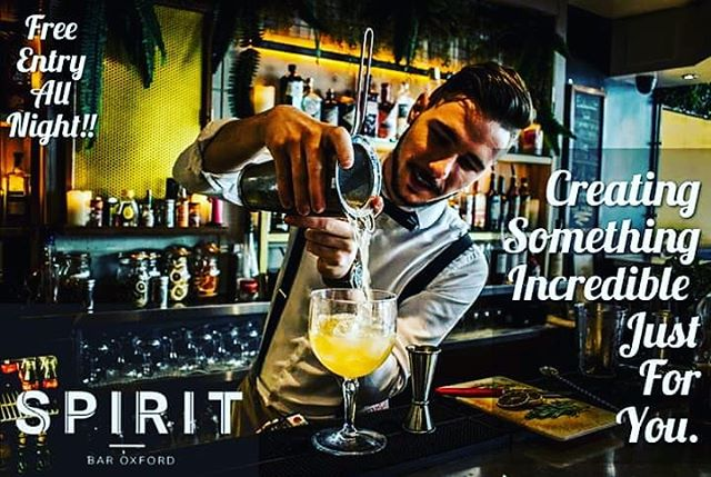 Photo of the week at Spirit Bar!  Serban Victor Mihaila is one of our incredible cocktail bartenders here at Spirit. Joined us in September 2018 and quickly proved he's got what it takes to become one of the best here in Oxford.  Born and raised in Bucharest, Romania he traveled here to study the very profession he works in and loves to be behind the bar mixing all types of weird, spectacular and even out of this world concoctions to please our ever growing crowd.  So if you fancy having one of Serban's concoctions then head down this weekend and let him blow your mind.  #SpiritBarOxford #Oxford #Cocktails #HappyHour #IveGotAmazingBartenders #LiveTheMoment  Photo credit; @Rob Clench