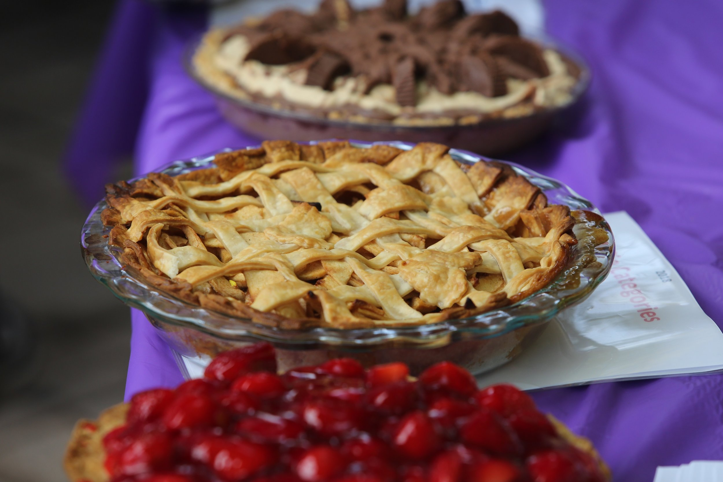 - • Community leaders judge the best pies in seven different categories.• Kids' Pies judged in three age groups!• Tickets purchased for pie slices or whole pies, food and beverage sales.• Listen to live music, let children enjoy the playground, find great deals on gift baskets and, of course, eat pie!