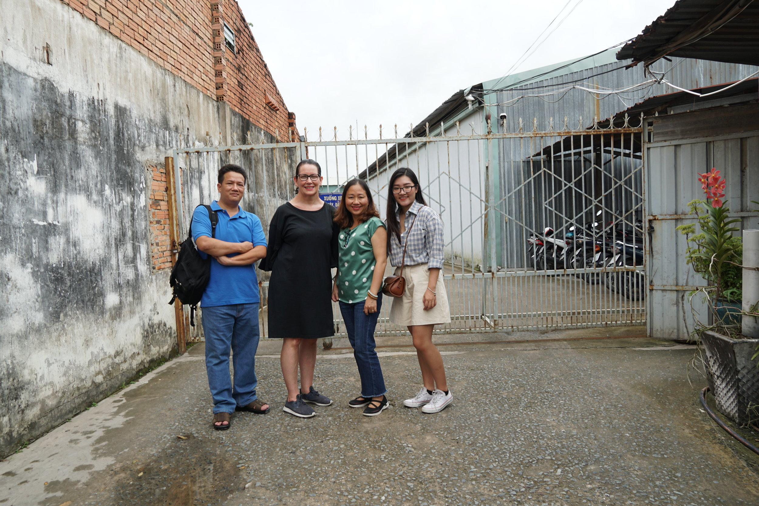 Khiet and Jane and Naturecraft owner Tran Thi Tam, with Vicky Vo, the Manufacturing Creativity Project Assistant based in Ho CHi Minh city.