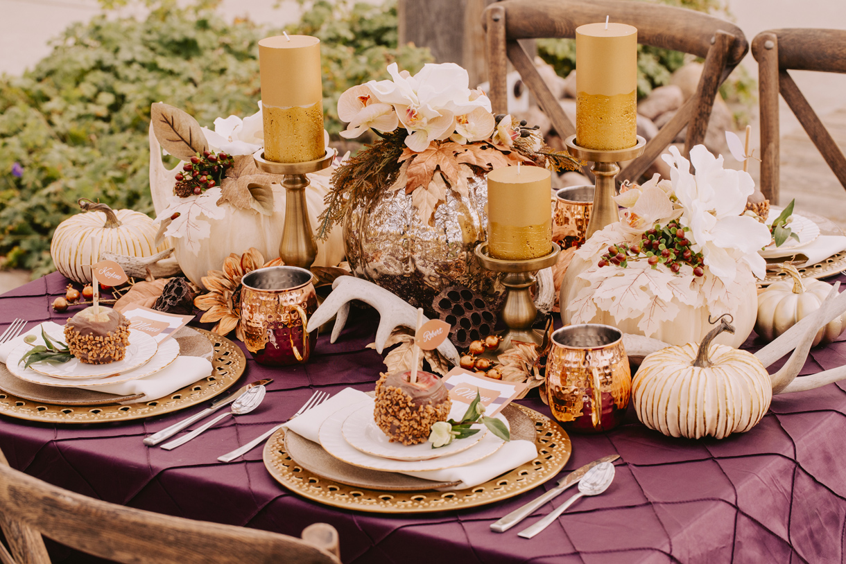 AutumnBeauty - Illuminated by the gentle lights of a fading summer, Leduc Stone Barn was the perfect location this decadent stylized shoot.View Gallery>Published on: Cake and Lace