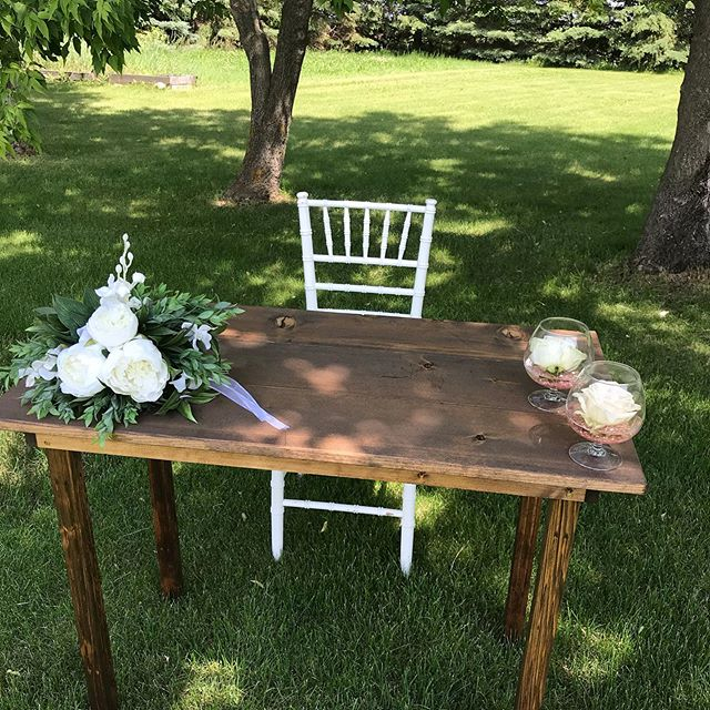 "Sunday project; A rustic signing table for all your outdoor wedding ceremonies. Now available for rent the size is 40""x 22""."