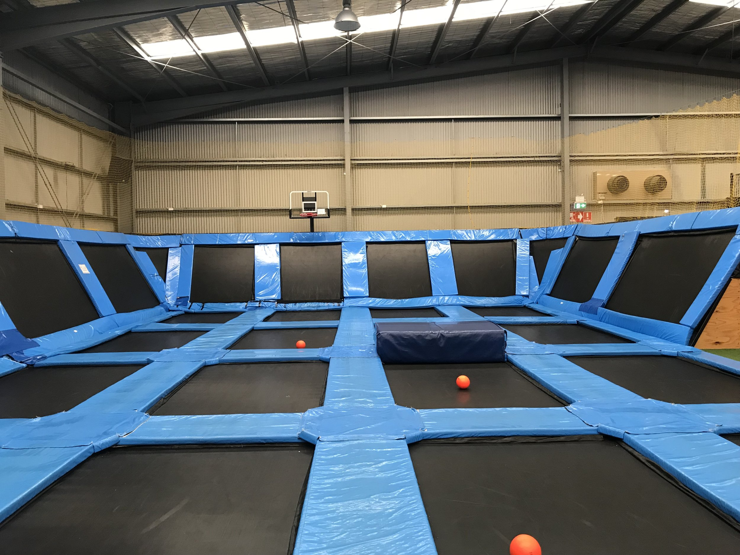 Free JumpDodge BallBasketball - The free jump area is our network of interconnected floor and wall trampolines. Bounce off the walls and shoot some hoops all while you get a great workout!