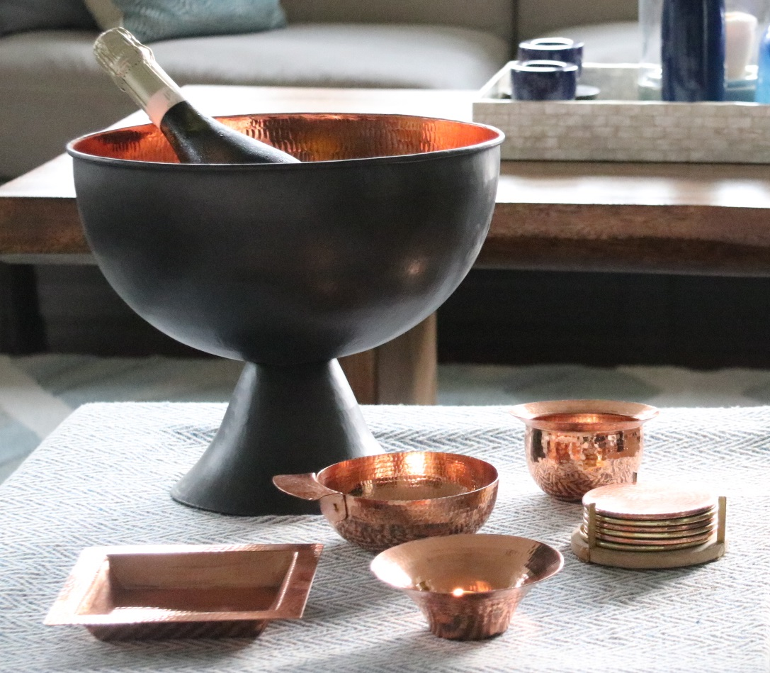 Elegant Copper Ice Bucket - Using age old techniques with a contemporary twist, these stunning copper ice buckets are handcrafted in Java.
