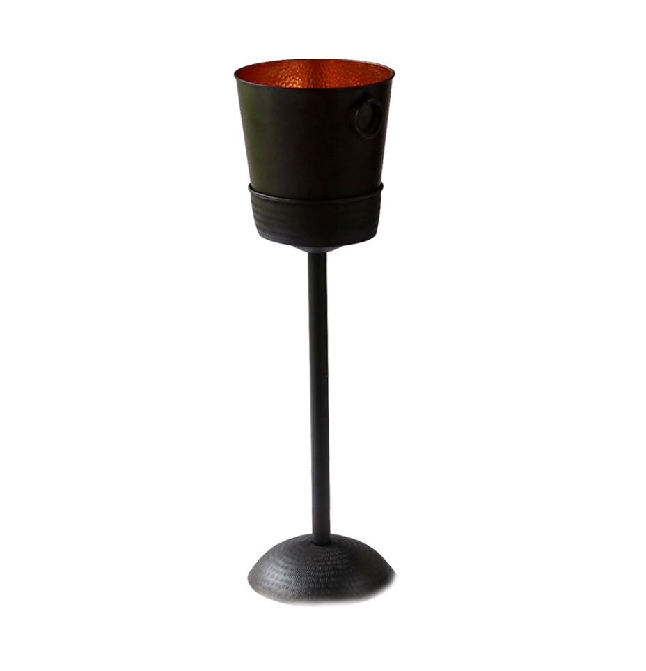 Black Copper Ice Bucket with Removable Stand - S$350