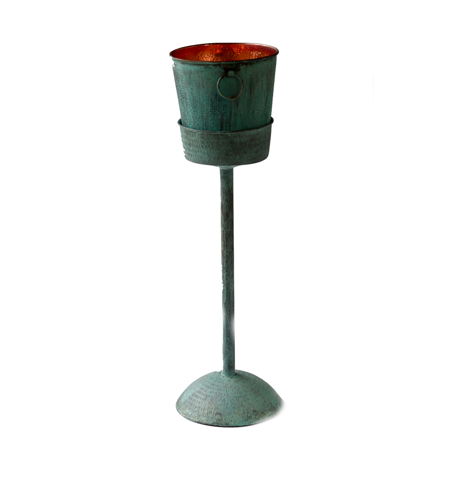 Turquoise Copper Ice Bucket with Removable Stand - S$350
