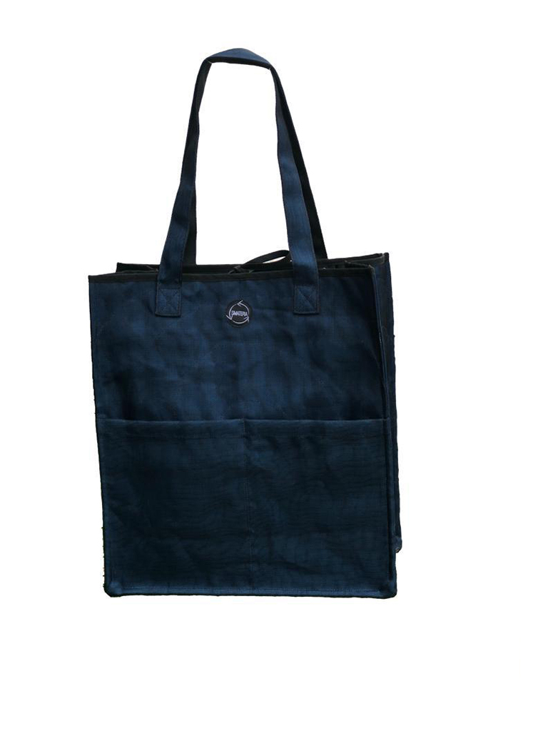 Dark Blue Shopper Bag made from Recycled Fishing Nets with Pockets - Large - S$75