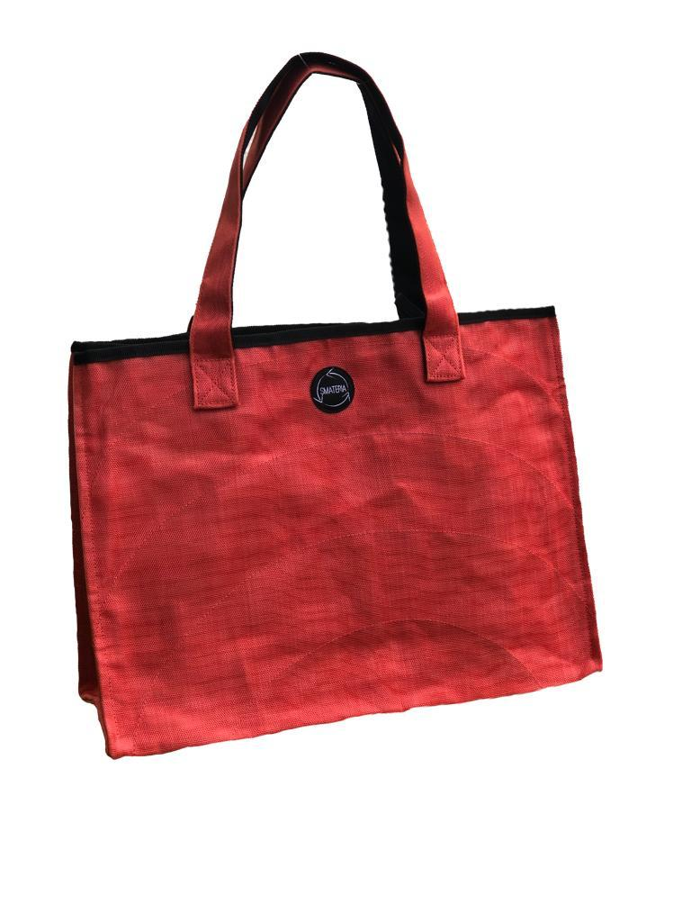 Red Shopper Bag made from Recycled Fishing Nets - Medium - S$50