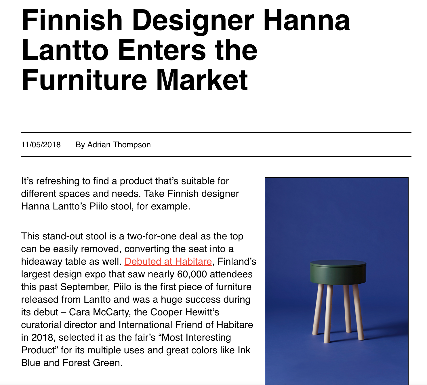 Interiors+Sources: Finnish Designer Hanna Lantto Enters the Furniture Market - Read more >>