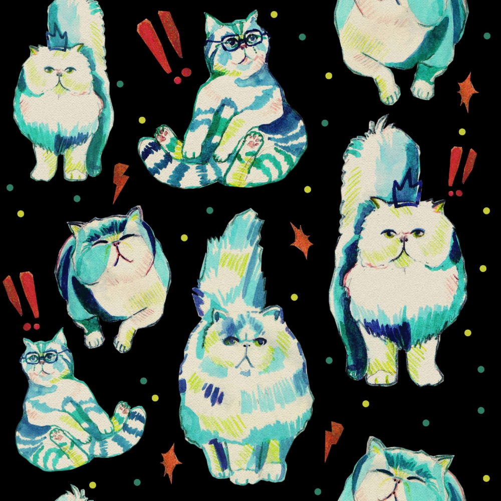 Crazy cat lady pattern by Anca Pora