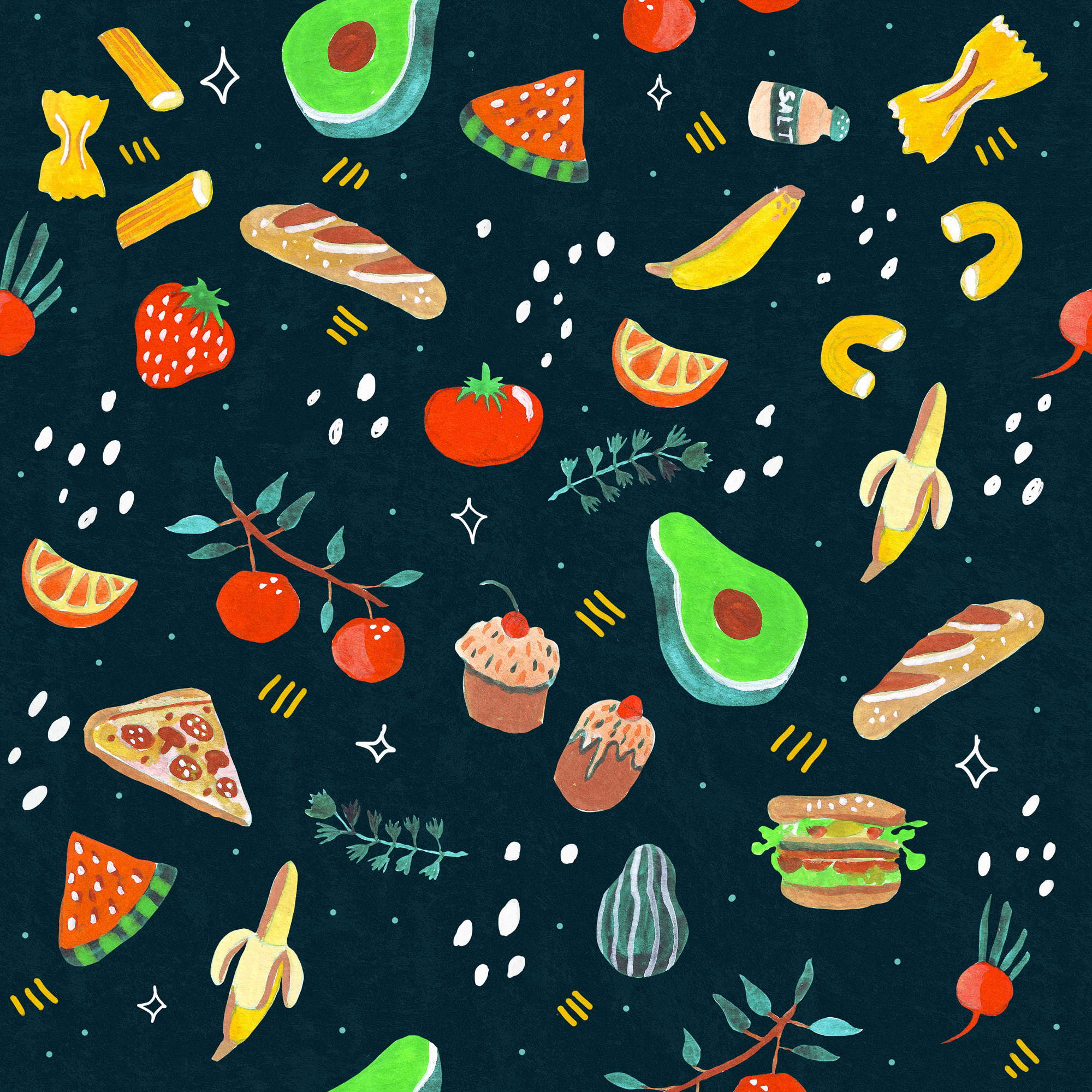 Food Illustrations Pattern by Anca Pora