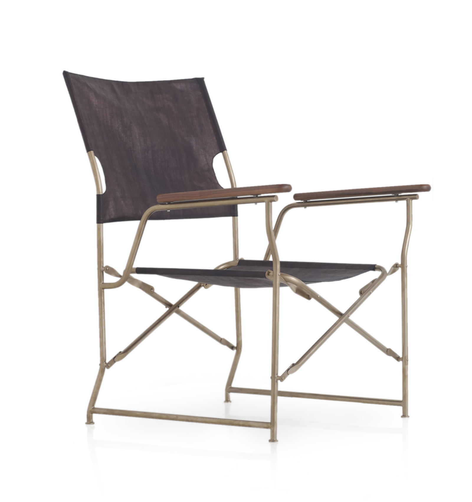 The Nomad Chair — a contemporary take on the classic folding camp chair featuring indigo glossy cloth.