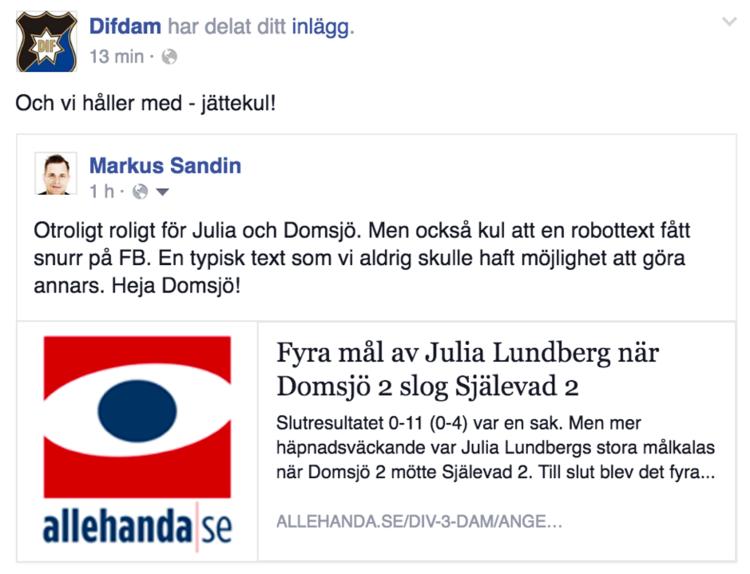 Exempel på hur en automatisk text från United Robots textrobot Rosalinda, publicerad på  allehanda.se , blir ett underlag för social interaktion på Facebook.