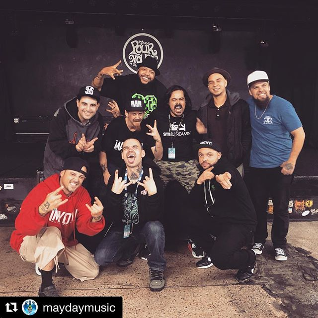 Me and my bros.. a million thanks to all these guys for teaching me the game. 🤘#Repost @maydaymusic ・・・ That's a wrap on the #SouthOf5thTour!!! Much love to @potluck1ton for keeping us alive, rocking the spot, and being the beacon of positivity. @duivan, & @philmauromusic for rocking the show every night with us. @jace_se7en_clendening for keeping the show running smooth, Norman on the Merchandise, & @donziglioni lighting up the place for us. Most importantly thanks to everyone who came out to support us and this new album. Until next time... #Mayday #SouthOf5th