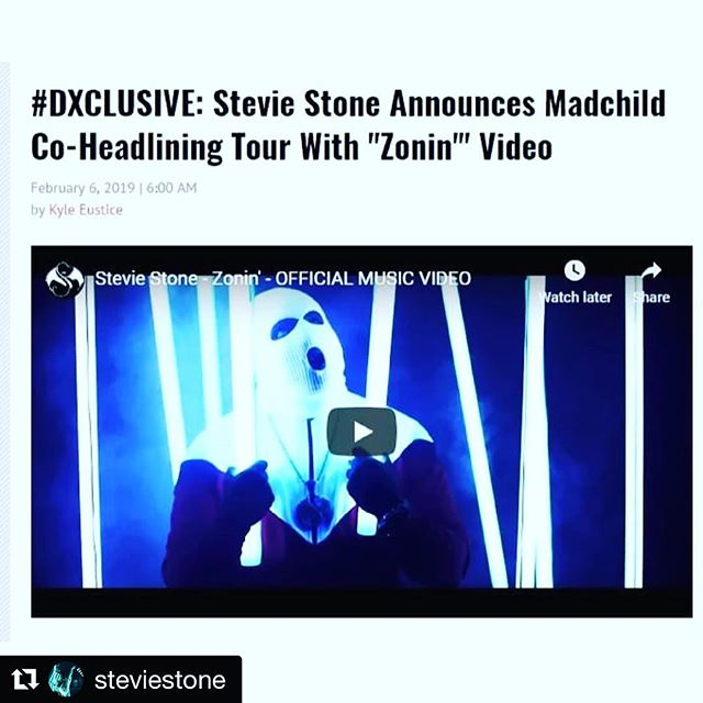 """Do yourself a favor and peep the new visual from @steviestone for """"ZONIN"""" and catch ME on tour with him, @madchild and @potluck1ton this spring! #SNT2019 #Repost @steviestone ・・・ PREMIERE: #ZONIN out now on @hiphopdx - link in bio! SWIPE to see the STRANGE NOIZE TOUR 2019 announcement w/ @madchild! And guests @potluck1ton @philmauromusic!  LET'S GO! 2019 #TEAMSTONE #SetInStone"""