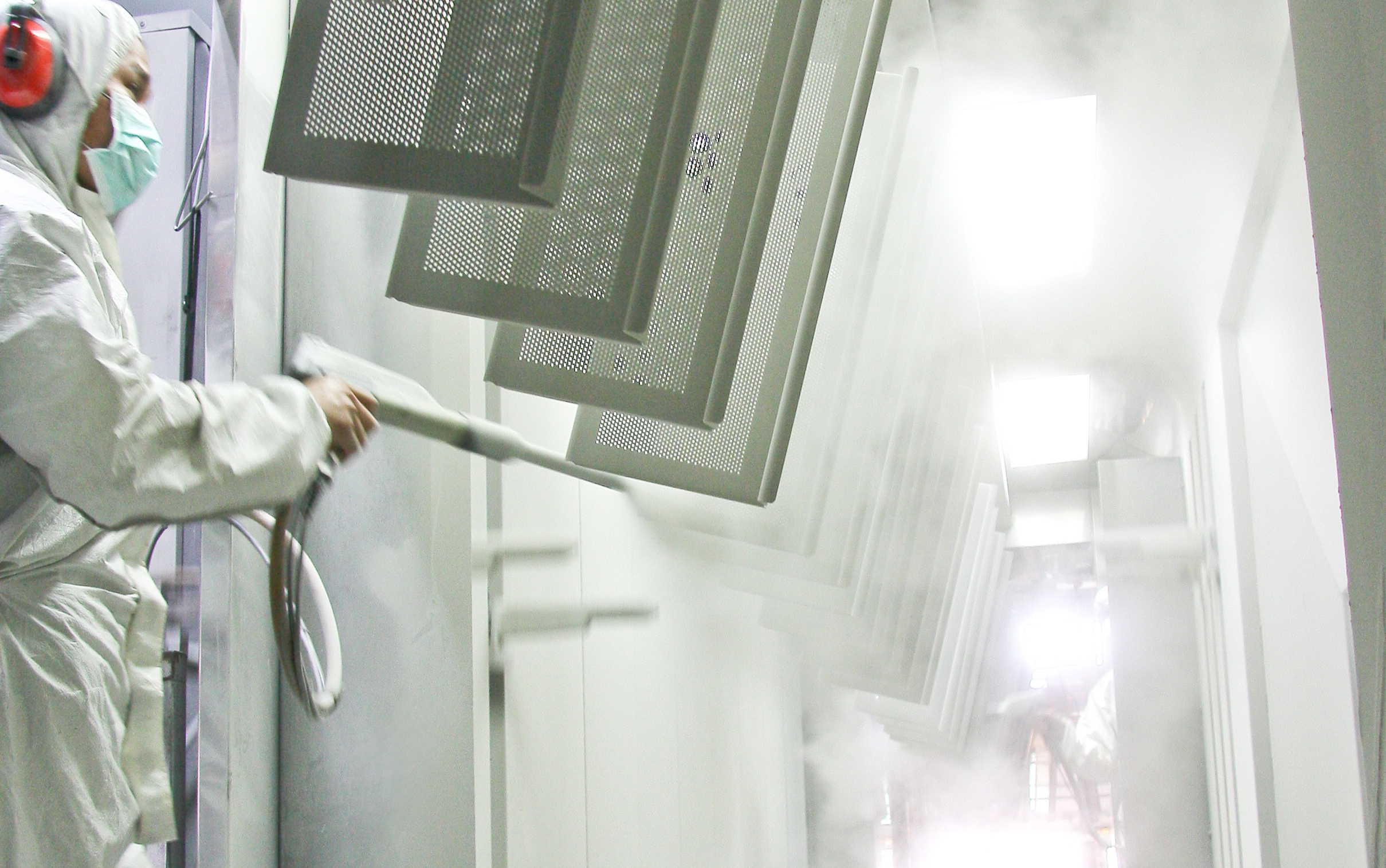 Powder Coating - Our powder coating facility is strictly monitored for a smooth and even coating. All metal are cleaned and treated twice in a sonic wave tub before powder coats are applied. Furthermore, we control the processing of powder residue to avoid pollution.