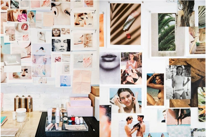 Physical moodboards on the office of  Glossier