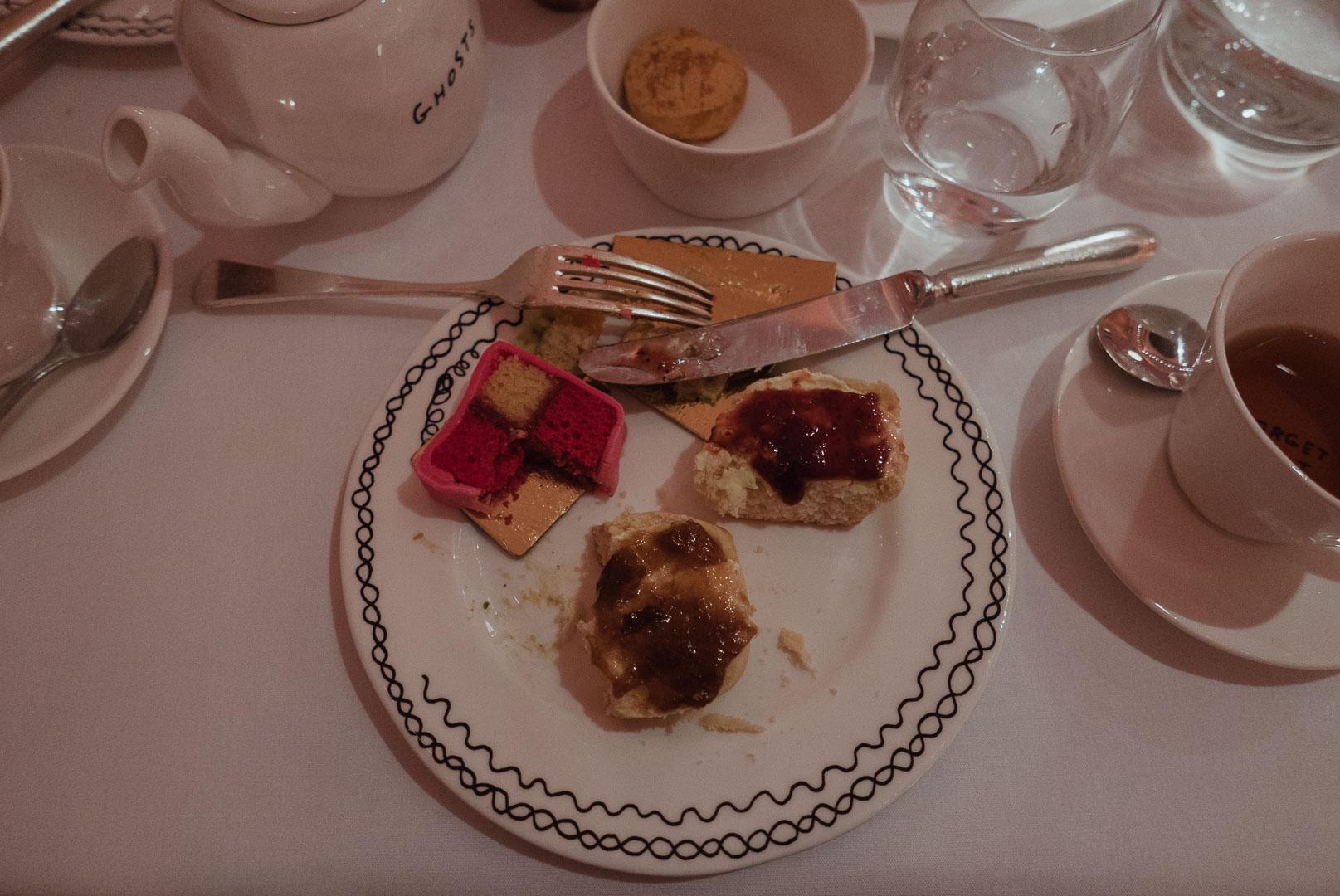 Battenberg Cake & Scones with Clotted Cream and Jam.