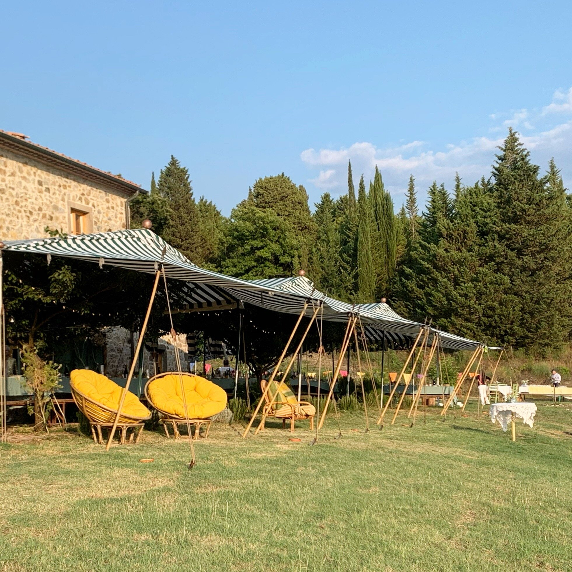 Tents and awning supplied by Italy's Guido Toschi, top maker of exquisite tents and pavilions of all descriptions.