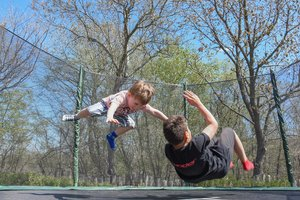 Trampolines are a great way to break the ice (and a leg... so, play carefully!)