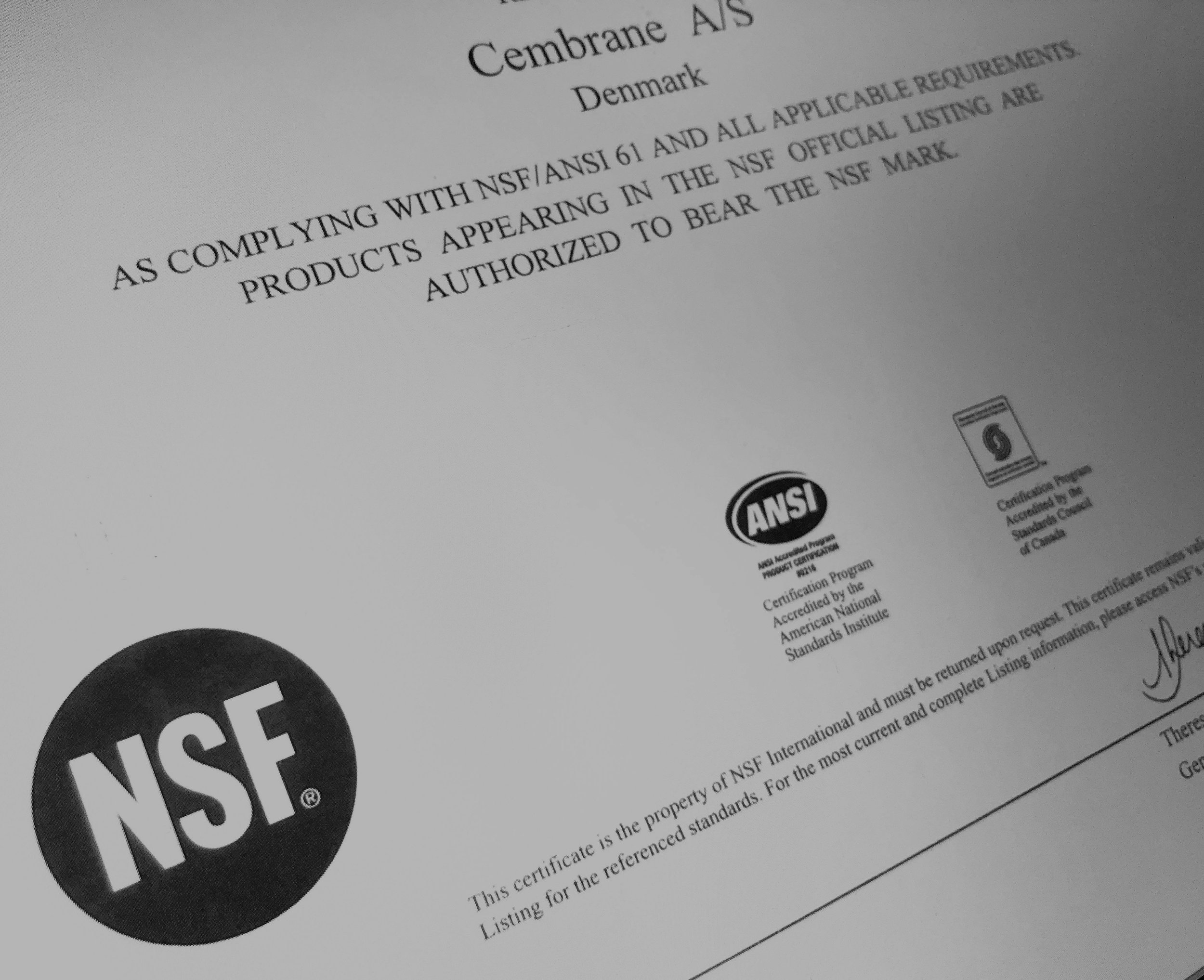 CERTIFICATES - NSF Drinking water compliance