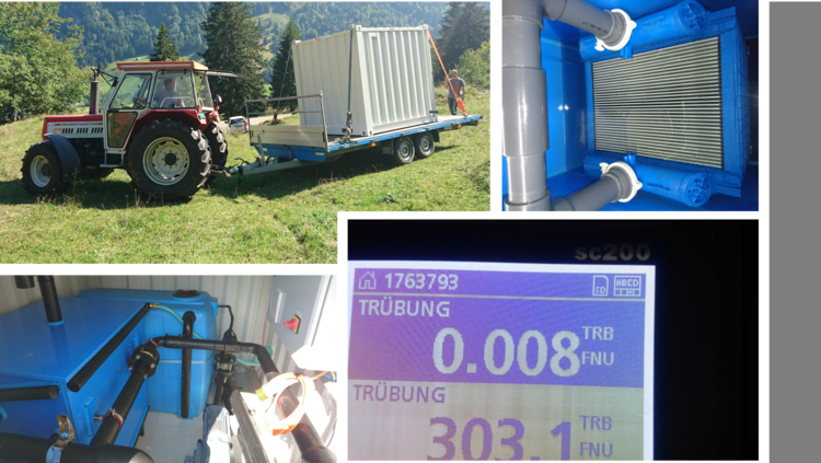 Application: Drinking water from fresh water spring  Location: Switzerland  Capacity: 350 m3/day  Description: Direct treatment of mountain spring water coming from the Swiss alps, without the use of coagulation. Turbidity can fluctuate depending on season, and can even reach NTU 300, without problems.